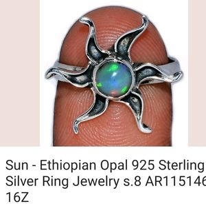 GENUINE OPAL SOLID .925 SILVER SUN RING